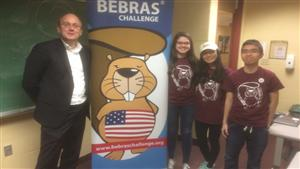 USA Bebras Director Eljakim Schrijvers and ACM Student Volunteers Mary, Julie and Kurt at the Regional Finals