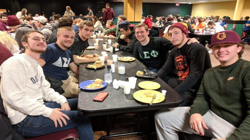 Students enjoying a late-night breakfast at Gannon's annual MidKnight Pancake Breakfast