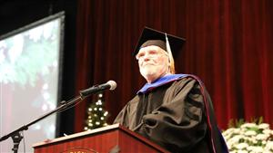Mayor Joseph V. Schember addresses Gannon University Winter Commencement