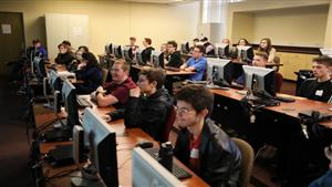 High school students compete for a chance to win a full-tuition scholarship during Gannon University's inaugural Hackathon.
