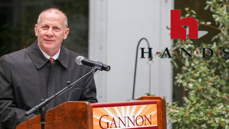 Dr. Keith Taylor, President of Gannon University, awarded 2020 Charles R. and Katherine L. Scalise Community Service Award by HANDS