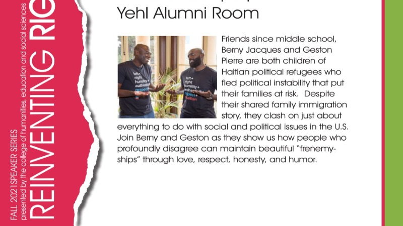 Come hear Berny Jacques and Geston Pierre Speak on their Friendship
