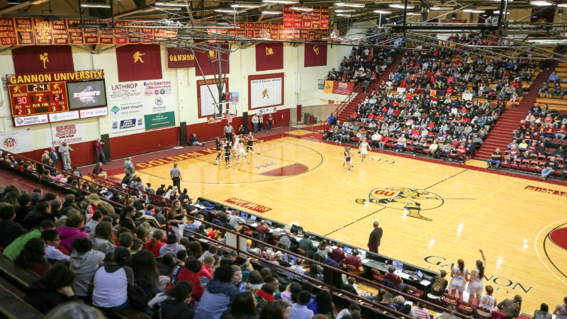 Students and teachers from Strong Vincent Middle Schools packed the Hammermill alongside Gannon community to cheer Gannon women's basketball to victory.