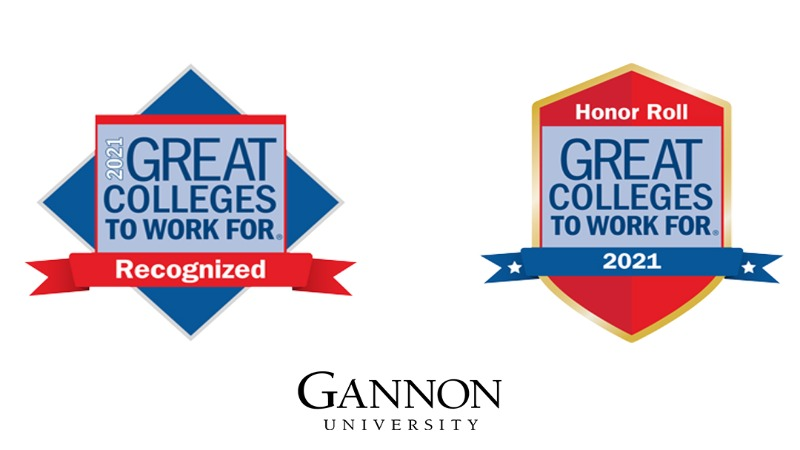 Gannon University earned Honor Roll as a 2021 Great College to Work For.