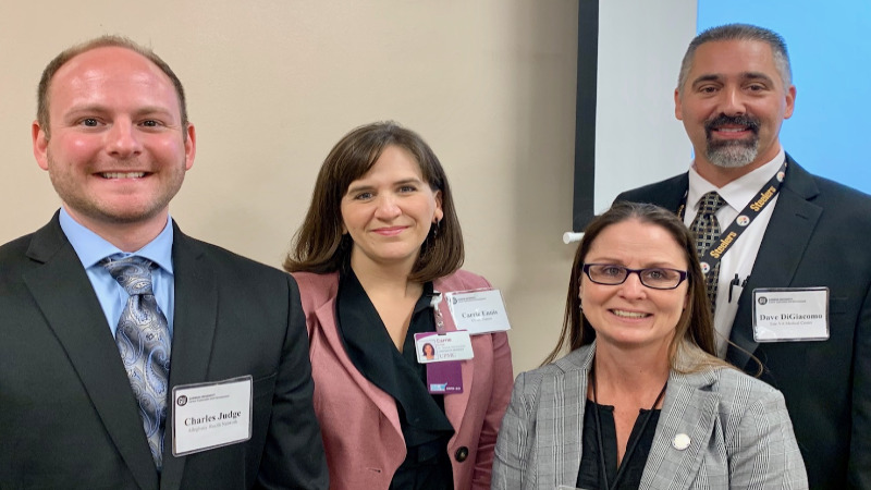Gannon Business Day Health Care Managment Guest Speakers (l-r): Charles Judge, Carrie Ennis, Mellissa Lyon, and Dave DiGiacomo.