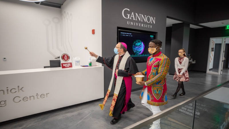 Bishop Persico blesses the space inside I-HACK at Gannon University