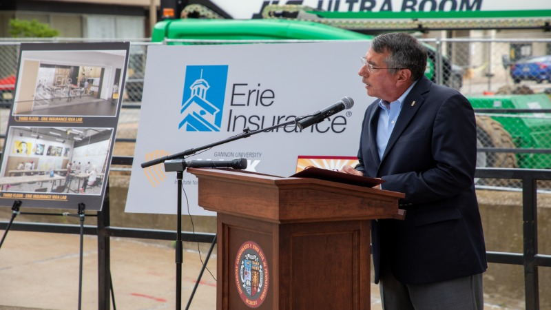 Timothy G. NeCastro '83, president and CEO of Erie Insurance, speaks to the significance of the collaboration.
