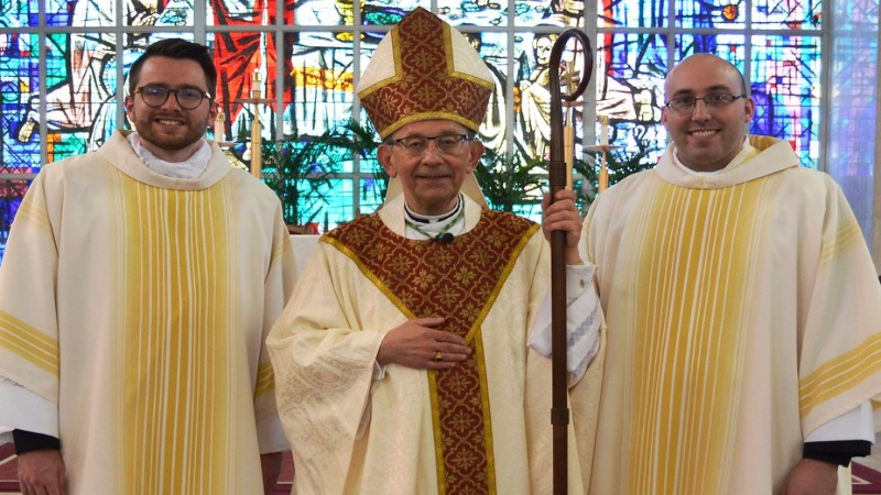Bishop Persico with Kevin Holland and Joseph Petrone in April 2019 at their Ordination as Deacons.