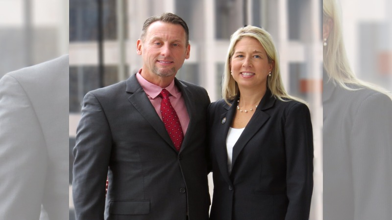 Gannon alumna Stacy Juchno and her husband, Scott Dibble. Juchno's $100,000 gift will fund faculty recruitment and support of faculty and student-driven research within I-HACK.