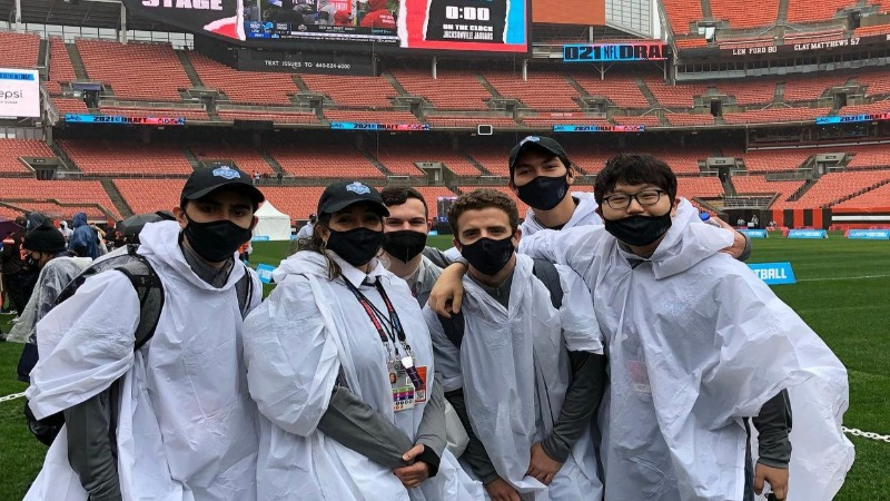 Students attending and volunteering during the 2021 NFL Draft in Cleveland, OH.