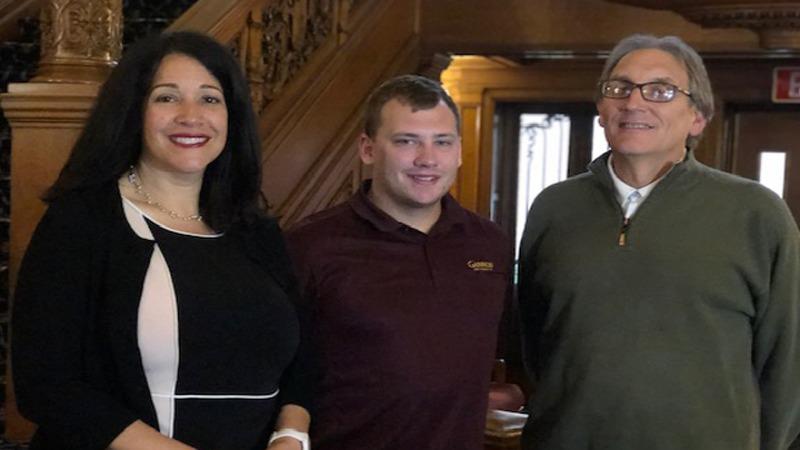 Dean: Dr. Karinna Vernaza, Student: Brandon Eller and Alumnus: Jim Rutkowski Jr. '83