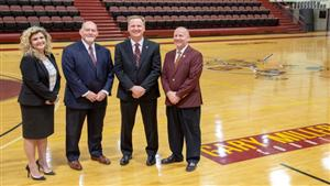 (L-R) Lisa Goddard-McGurik, Athletic Director; Brian Nichols, Vice President for Student Development and Engagement; Cleve Wright, Women's Basketball Head Coach; Keith Taylor, Ph.D., President
