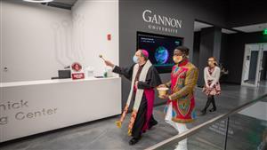 Bishop Persico blesses the space inside I-HACK at Gannon University