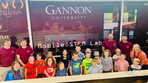 Children learning from the Gannon Mobile STEM Lab