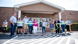 TANNER MONDOK | Herald Local community leaders participate in a ribbon cutting ceremony for the Valley Fab Lab at LTI in Sharon.
