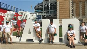 Gannon students in front of Progressive Field for the MLB All Star Week