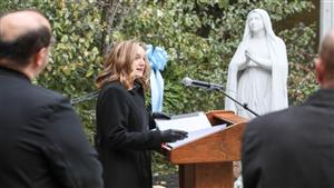 Dr. Sarah Ewing, Dean of Morosky College of Health Professions and Sciences speaks during the dedication and blessing.