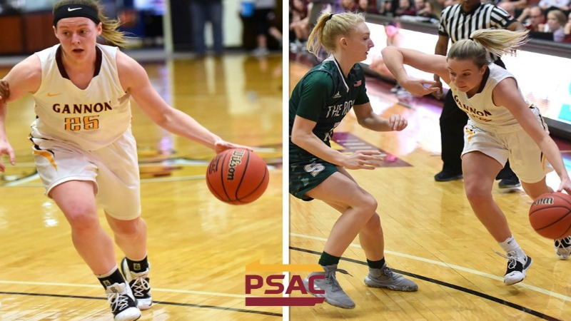 Gannon University women's basketball player Tori Obenrader and Chelsea Rourke earned All-Conference honors for the Knights