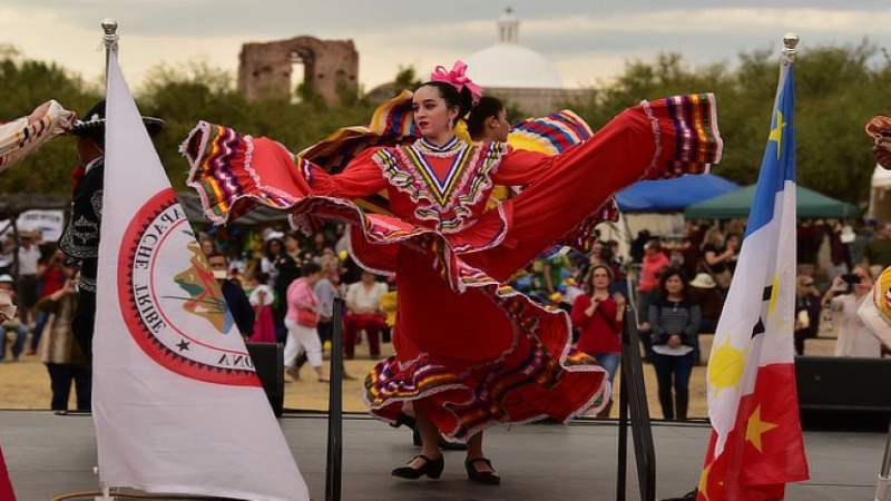 Traditional Mexican folklórico dancers on stage at La Fiesta de Tumacácori. Patrick L. Christman, photographer, 2017. National Park Service collection.